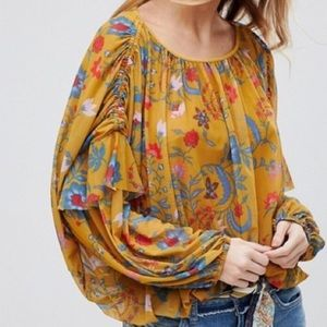 Free People Wildflower Honey Ruched Ruffle Top
